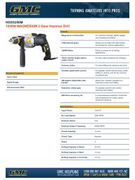 1050W MAGNESIUM 2 Gear Hammer Drill