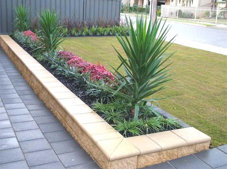 Front yard retaining walls commercial cannscape pty for Modern front garden ideas australia