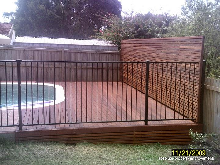 Timber Decking And Privacy Screen With Powdercoated