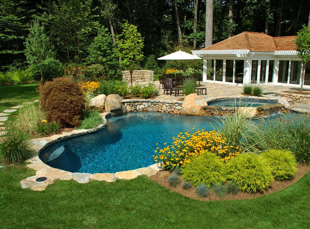 Choosing trees and shrubs for pool areas - Small pool landscape ideas ...