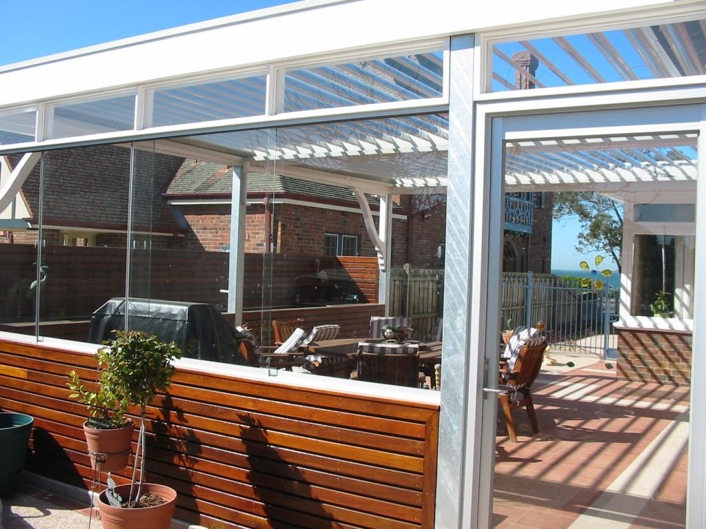 Patio ideas pergolas louvre roofs flat all seasons Enclosed patio ideas