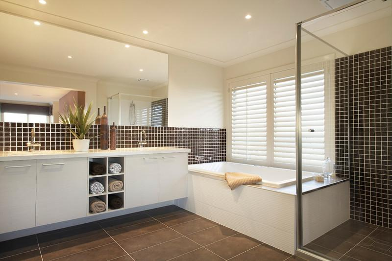 bath, shower and sinks in a home