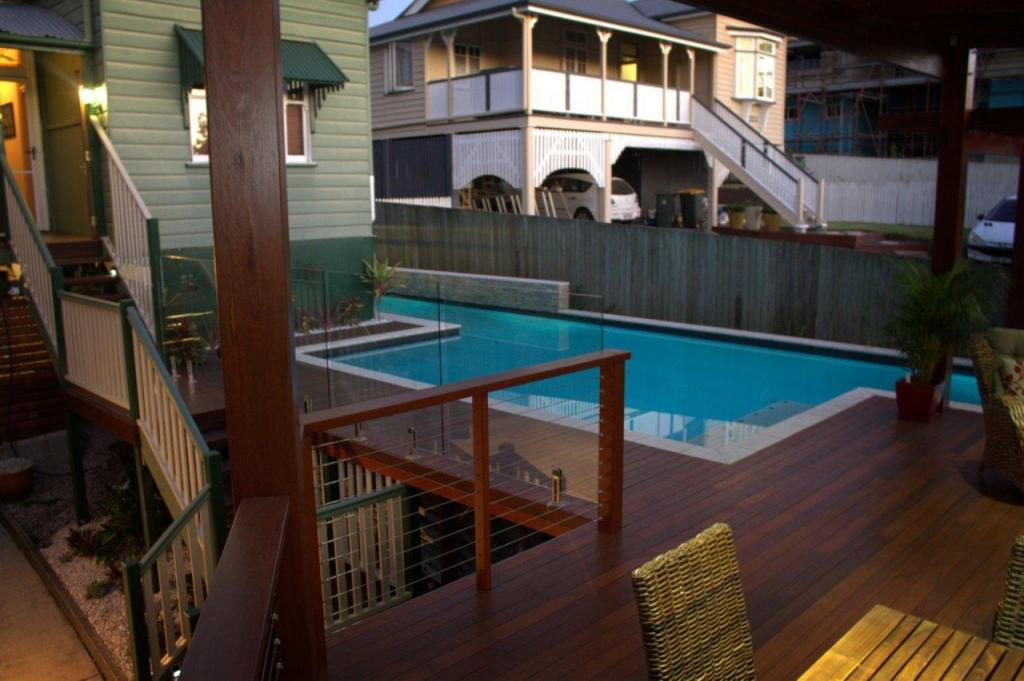 New timber deck covered gazebo swimming pool holland for Pool home show brisbane