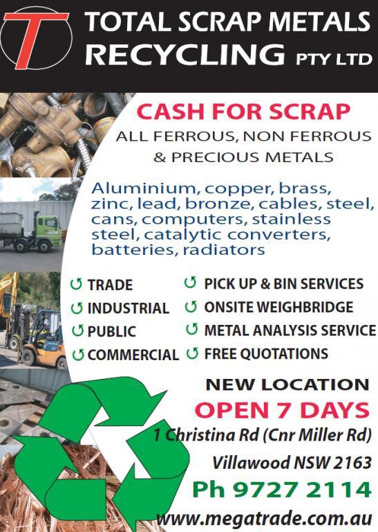 Total Scrap Metals Recycling Pty Ltd Sydney Metro
