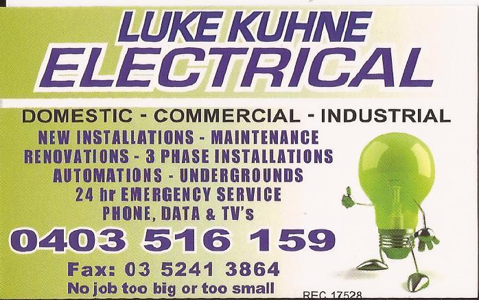 Luke Kuhne Electrical Geelong Victoria Luke Kuhne