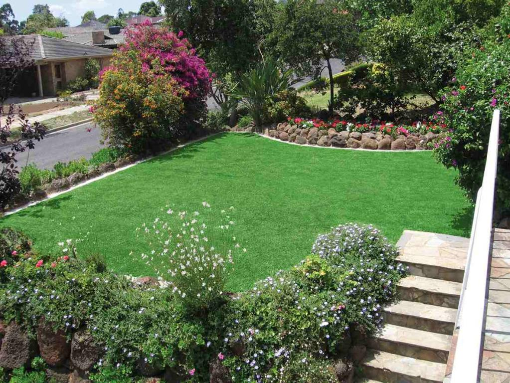 Front garden gardens residential turf strathayr for Garden designs australia