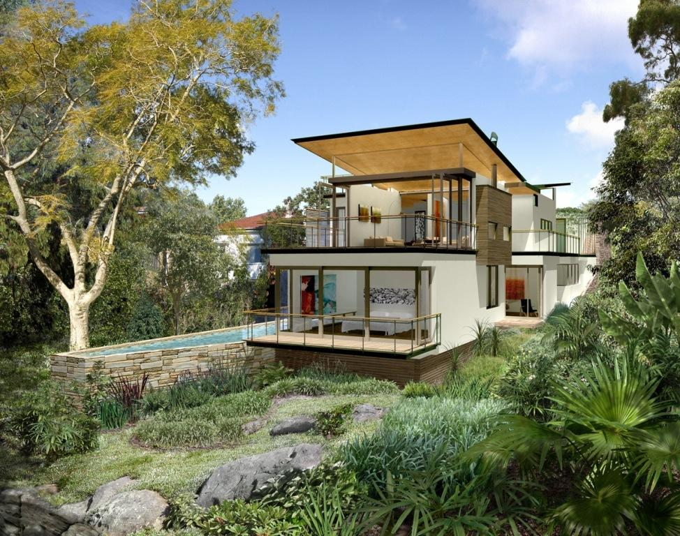 House designs brisbane sloping block home design and style for Houses for small blocks