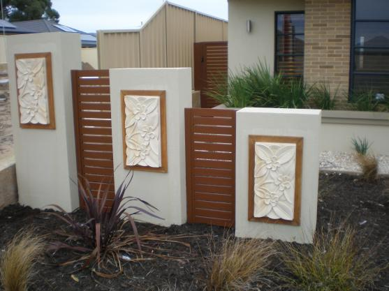 Fence design ideas get inspired by photos of fences from for Wall design outside house