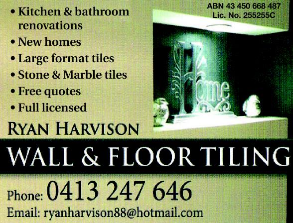 Ryan Harvison Wall amp Floor Tiling Goulburn North
