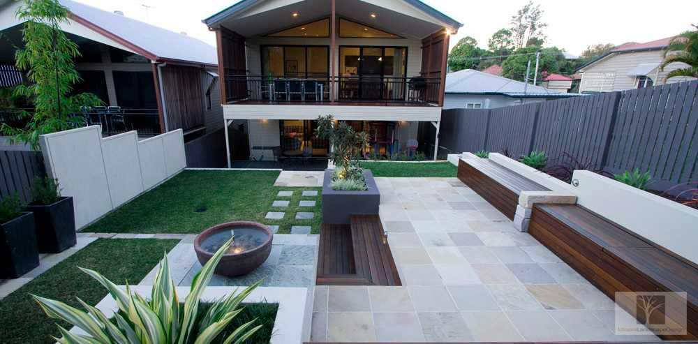 modern garden with retaining wall