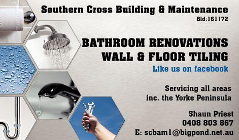 Bathroom Renovations Yorke Peninsula southern cross building & maintenance - serving both the entire