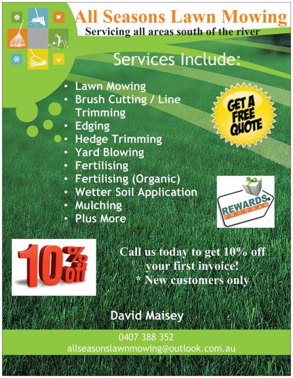 All Seasons Lawn Mowing Servicing Areas South Of The River David Maisey 5