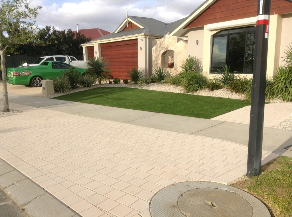 Front garden of a home with artificial turf